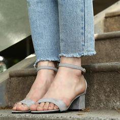 Ankle Strap Heels Women Sandals Summer Open Toe Chunky High Heels. Chunky High Heels, Chunky Sandals, Womens Summer Shoes, Ankle Strap Heels, Dress Sandals, Grey Shoes, Shoe Sale, Open Toe, Boat Shoes