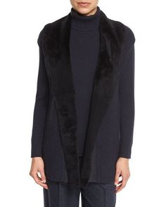 Long Cap-Sleeve Vest w/ Fur Collar
