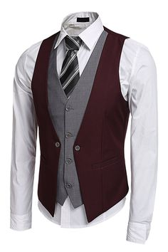 Men's Clothing, Suits & Sport Coats, Coofandy Men's V-Neck Sleeveless Slim Fit Jacket Business Suit Vests - Wine Red - Source by clothing styles Western Outfits, Dress Suits, Men Dress, Dress Vest, Dress Tops, Swag Dress, Oversized Fashion, Wedding Vest, Party Wedding
