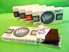 Our lovely new Videri Chocolate Factory chocolate made right here in Raleigh, NC in a nut-free facility! Amazing flavors like dark milk, pink peppercorn, classic dark, and sea salt.