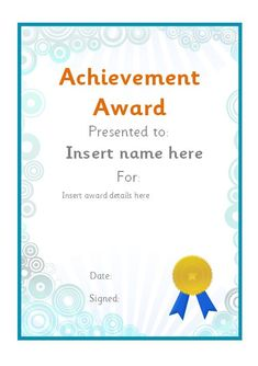 Editable achievement award certificate. #teachingresources