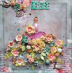 Scraps of Elegance scrapbook kits: Mixed Media Ballerina layout created w/our Watercolor Wishes kit, by Annie Carignan