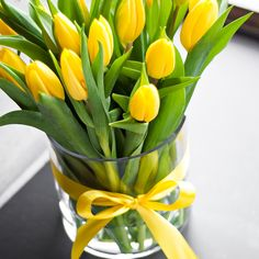 Yellow Tulips in Clear Vase