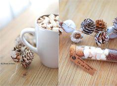 Du chocolat chaud aux chamallows pour mes invités ! winter, chocolat, chocolate, hiver, gourmand, food, marshmallow, cocoon, cadeau invités, mariage, wedding gift