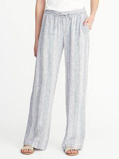Striped Linen-Blend Soft Pants for Women Linen Pants Outfit, Linen Trousers, Look Fashion, Fashion Outfits, Spring Fashion, Linen Drawstring Pants, Cute Pants, Fashion Corner, Soft Pants