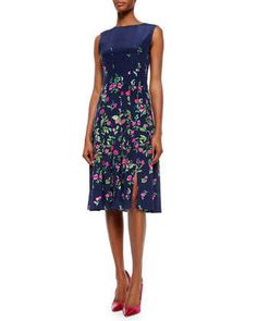 Floral-Print Box-Pleated Dress by Oscar de la Renta