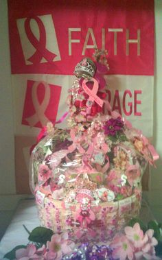 LG Pink Breast Cancer Gift Basket Sale by cappelloscreations, $140.00@Etsy