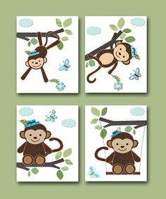Monkey Nursery Baby Boy Nursery art print Children Wall Art Baby Room Decor Kids Print set of 4 8 x 10 monkey blue green. $56.00, via Etsy.