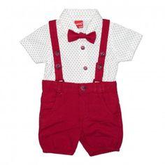 Va prezentam compleul casual de vara pentru baieti (bebe) compus din4piese, body cu maneca scurta cu vesta, pantaloni scurti, papion, calitate superioara, design fashion, categoria haine pentru copii. Acest compleu pentru baieti face parte din colectia de vara 2019,ideala pentru acest sezon, produs fabricat in Turcia. Shorts, Red, Chino Shorts, Short Shorts, Hot Pants