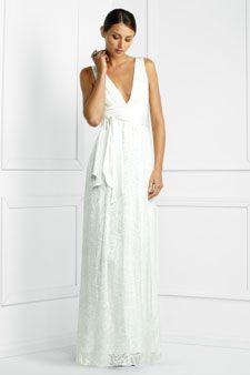 Deep V-neck wedding gown, $328 at bcbg.com