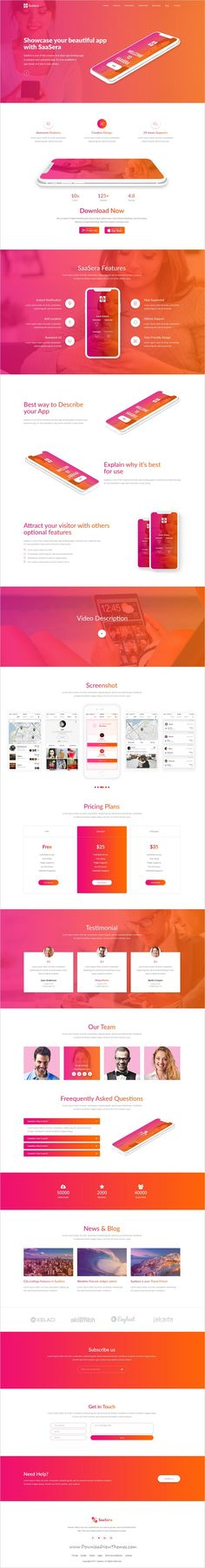 SaaSera is clean and modern design PSD template for startups web #app and software #showcase landing page website with 13 layered PSD pages download now #webdesign