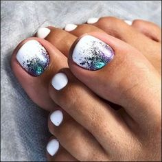 30 Toe Nail Art Designs to Keep Up With Trends # Pedicure Designs, Manicure E Pedicure, Toe Nail Designs, White Pedicure, Pedicure Ideas Summer, Summer Pedicures, Glitter Pedicure, Pedicure Colors, White Nail Designs