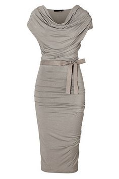 Ultra feminine and flattering, Donna Karan's luxurious draped jersey dress guarantees a glamorous look both day and night