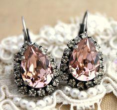 Rose light pink teardrop hook earring  oxidized silver by iloniti, $48.00