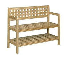 Beaumont Solid Birch Wood Large Bench w/ Back in Blonde Finish - New Ridge style, seating and storage with the distinctive Beaumont Solid Birch Wood Large Bench with Back. This expertly crafted latticework bench is built to last, bringing Entryway Bench Storage, Entryway Furniture, Bench With Storage, Storage Benches, Kitchen Storage, Wood Bench With Back, Modern Cottage Style, Outdoor Chairs, Outdoor Furniture