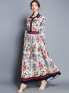 23c861f1b2e Floral Print Lapel High Waist Maxi Dress