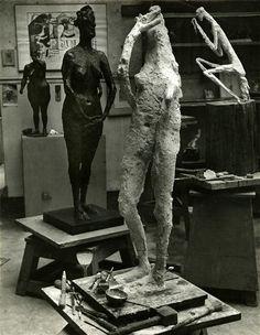 Atelier de Germaine Richier (Brassaï) Paris 14, Brassai, Plastic Art, Oeuvre D'art, Artist At Work, Les Oeuvres, Sculpture Art, Contemporary Art, Art Photography