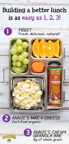 School is back in session, which means it's officially time to brush up on your lunch packing skills! Build a better lunch box for your kids in 3 quick & steps (all with the help of your friends at Annie's!)  Step 1) Start with Annie's Shells & White Cheddar Macaroni and Cheese. Step 2) Toss in an Annie's Organic Chewy Peanut Butter Chocolate Chip Granola Bar. Step 3) Finish off with some fresh fruit to add a little sweetness.