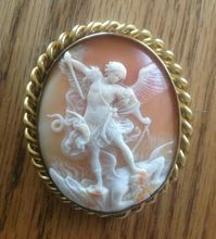 Horned Helmet Shell Cameo  Brooch of St. Michael Slaying the Devil