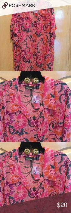 Blouse - Size 30 - 32 - Pink/Beaded & Sequin Blouse - AVENUE - pink shades and additional  coloring as shown - Short Sleeve - Size 30 - 32 - slight Beading and Sequins (Extra Beads and Sequins in Attached Bag as shown) ....this is a sheer blouse to be wore over tank or shift dress. Avenue Tops Blouses