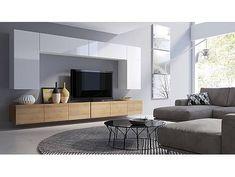 Obývací stěna KALABRY D bílý lesk/dub zlatý New Furniture, Living Room Furniture, Hanging Cabinet, Glass Shower, Tv Unit, Corner Sofa, Living Room Sets, Dining Set, Luxury Homes