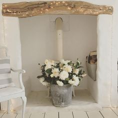 Filling the inglenook Cottage Inspiration, White Home Decor, Rustic House, Inglenook, Cozy House, Cosy Lounge, Cottage Chic, Cottage Decor, Christmas Lounge