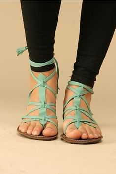 teal sandals.. i dont care if its almost fall, i want these.