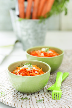 Fresh herb and feta carrot slaw