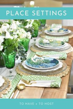 Summer tablescape for a tropical dinner party idea with peacock motifs and florals. Blue and green place settings for a Summer party. Tropical-inspired table. Summer Table Decorations, Table Place Settings, Dinner Party Table, Good Mood, Floral Motif, Table Runners, White Flowers, Dinnerware, Peacock