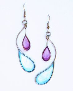 Stainless steel and dyed resin dangle earrings in purple and light blue - handmade jewelry