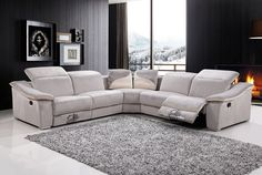 Five Piece Modern Recliner Sectional Sofa Set Gray/Beige Fabric Living Room  Home
