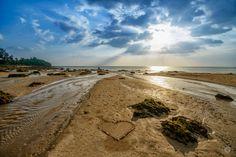 Heart of Seashells on the Beach Background