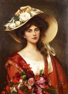 Portrait of a young woman in a hat holding a bouquet of flowers, by Albert Lynch.