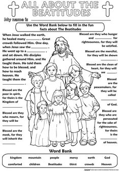 50 free printables free printable beatitudes coloring pages color your own poster the beatitudes books media free beatitudes coloring printable pages. Sunday School Activities, Church Activities, Bible Activities, Sunday School Lessons, Sunday School Crafts, Catholic Religious Education, Catholic Kids, Kids Church, Sunday School