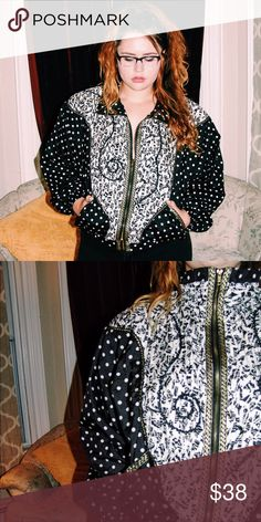 1980s/1990s Vintage Gold Polka Dot Windbreaker Never worn black and white polka dot patterned windbreaker with gold embellishments, pockets, and turtle neck zipper  Jackets & Coats Puffers