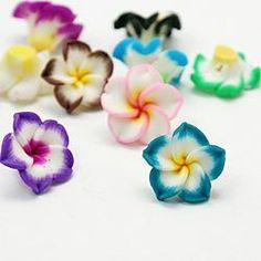 Handmade Polymer Clay Plumeria Beads 15mm