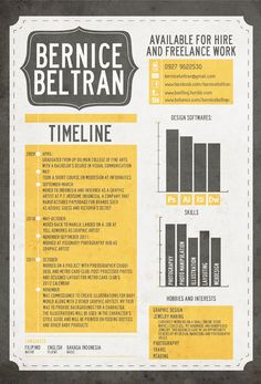 Inspiration for resume for graphic design. CV by Bernice Beltran, via Behance (like the graphs to show hobbies & skills) Cv Inspiration, Graphic Design Inspiration, Graphic Design Resume, Typography Design, Beau Cv, Cv Simple, Cv Original, Cv Curriculum Vitae, Infographic Resume