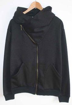 Black Long Sleeve Oblique Zipper Sweatshirt US$22.13