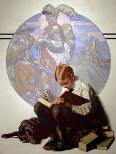 Boy Reading Adventure Story, by Norman Rockwell