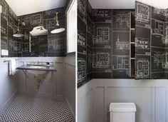 Blueprint bathroom - architectural plans as DIY wallpaper