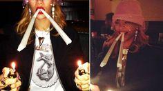Polémica por foto de #Rihanna encendiendo cigarrillos de marihuana. #Peru21