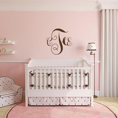 Traditional style monogram   Monogram Decal – Adnil Creations Monogram Wall Decals, Cleaning Walls, Single Sheets, Cribs, Nursery, Colours, Traditional, Bedroom, Simple