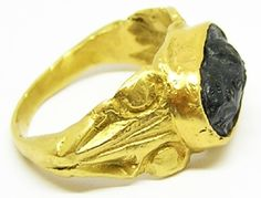 This is a superb ancient Roman 3rd century gold finger ring, set with its original jet cameo. The cameo cut from natural black jet, depicts the facing bust of a Gorgoneion head, identified by the wings as Medusa. Similar jet amulets of Medusa have been found mainly in Britain and the Rhineland, dated to the 2nd - 4th century AD (see Objects and Identities: Roman Britain and the North-western Provinces; By Hella Eckardt 2014). It would appear the style was fashionable in the North Western…