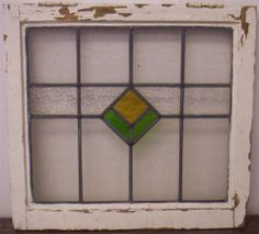 OLD ENGLISH LEADED STAINED GLASS WINDOW Simple Diamond Design