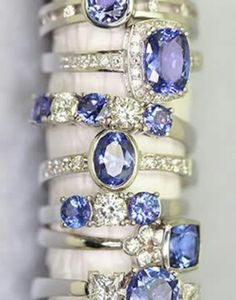 Stackable stunning Bracelets with a bluish sapphire stone.