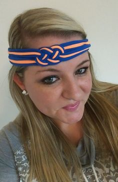 Oklahoma City OKC Thunder Blue & Light Orange Celtic Sailors Knot Headband is Perfect for Team Sports, Running, Cheer, Yoga, Softball, Basketball, Volleyball, School Spirit, Baby Shower Gifts, Birthday Gifts, New Baby Gifts, Photo Props, Matching Mother Daughter Twin Friend Sister Photos, Family Photos, & Game Day! No Slip Stay Put Headwraps in Newborn, Baby, Toddler, Child, Kid, Teen, & Adult Sizes by petesboutique