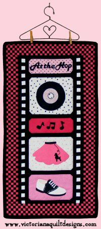 At the Hop - Then Quilt Pattern http://www.victorianaquiltdesigns.com/VictorianaQuilters/PatternPage/AttheHop/AttheHopThen.htm #quilting #1950s #nostalgia