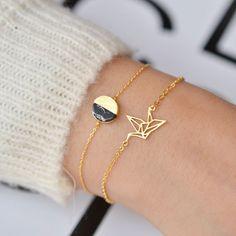 Envol Oiseau Origami Gold Bracelet - Majolie