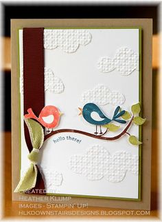 Embossing Folder Cloud Idea.  Designer says: I ran a piece of whisper white stock thru the Big Shot using the Square lattice EF, and then freehand cut the clouds.