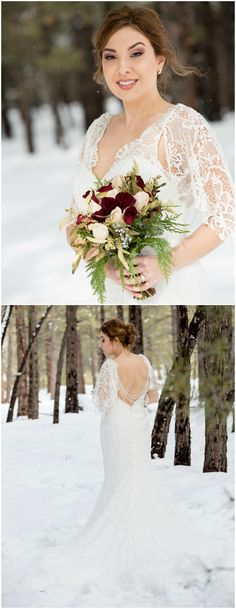Backless bridal gown, wintertime bride, lacy sleeves, draped strings of beads, train // Dana Gibbons Photography